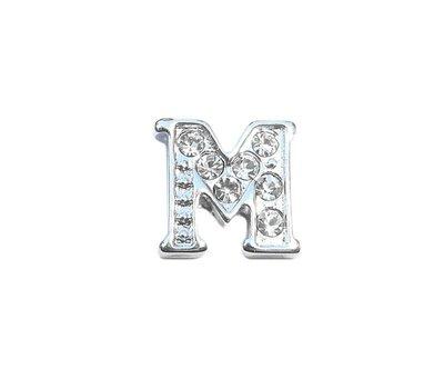 Floating Charms Floating charm letter m met crystals zilver voor de memory locket