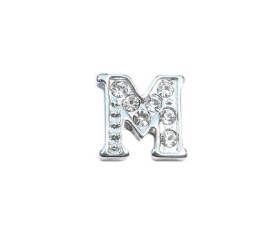 Floating Charms Floating locket charm letter M met crystals zilver