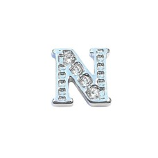 Floating Charms Floating charm letter n met crystals zilver