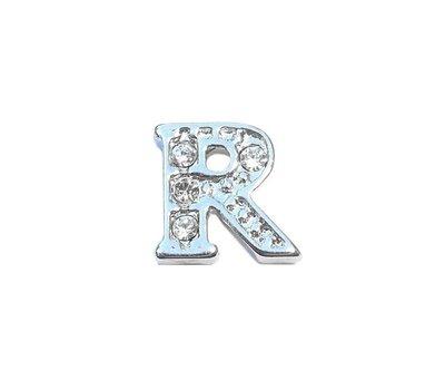 Floating Charms Floating locket charm letter R met crystals zilver