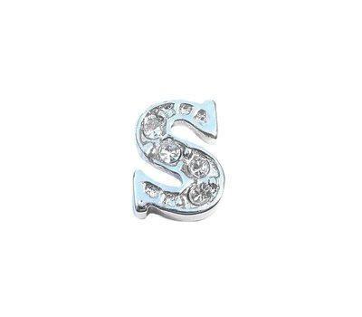 Floating Charms Floating locket charm letter S met crystals zilver