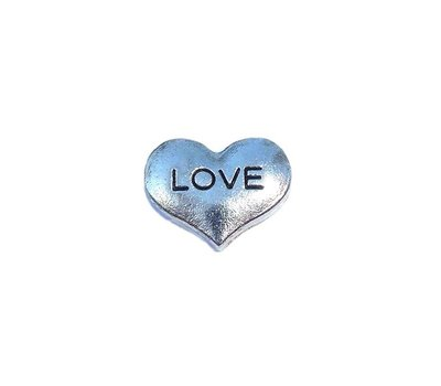 Floating Charms Floating locket charm hartje love zilver
