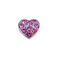 Floating Charms Floating locket charm hartje met roze crystals zilver