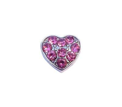Floating Charms Floating locket charm hartje met roze crystals zilver