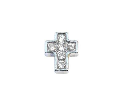Floating Charms Floating locket charm kruis met crystals zilver