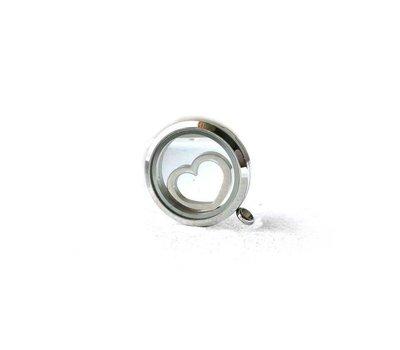 Floating locket  discs Memory locket disk open hart zilver