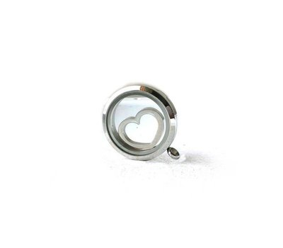 Locket Disks Floating locket disk open hart zilver