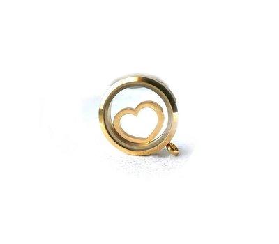 Locket Disks Floating locket disk open hart goud