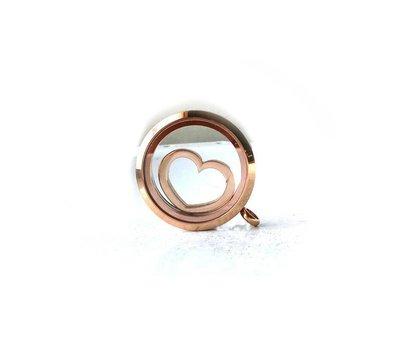 Floating locket  discs Memory locket disk open hart rosé goud
