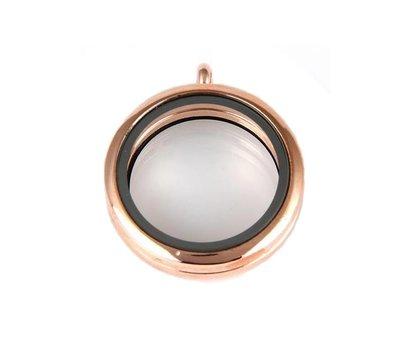 Floating locket Rosé gouden memory locket rond large