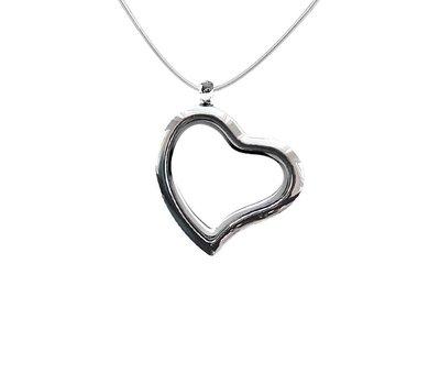 Floating memory lockets Zilveren memory locket gebogen hart inclusief ketting
