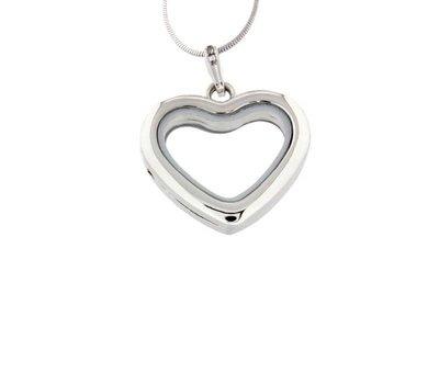 Floating memory lockets Zilveren memory locket hart inclusief ketting