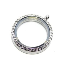 Floating memory lockets Rvs zilveren memory locket met strass rond XLarge