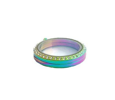 Floating locket Twist memory locket gekleurd rond large strass