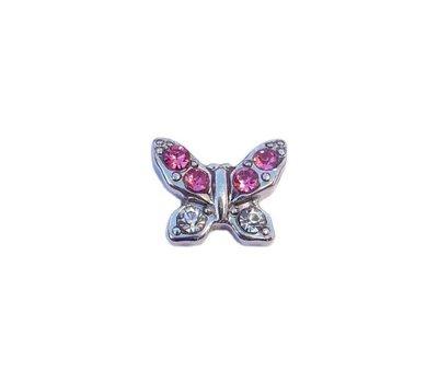 Floating Charms. Floating charm vlinder met roze strass steentjes voor de memory locket