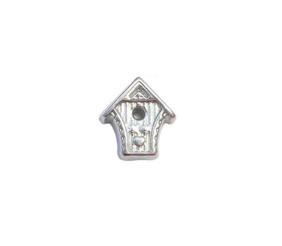 Floating Charms Floating locket charm vogelhuisje zilver