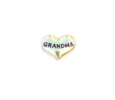 Floating Charms Floating locket charm grandma hartje goud
