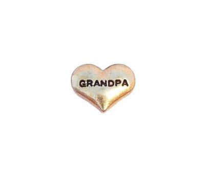 Floating Charms Floating locket charm grandpa hartje goud