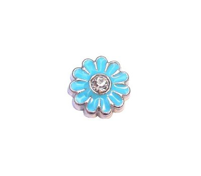 Floating Charms Floating locket charm grote blauwe madelief zilver