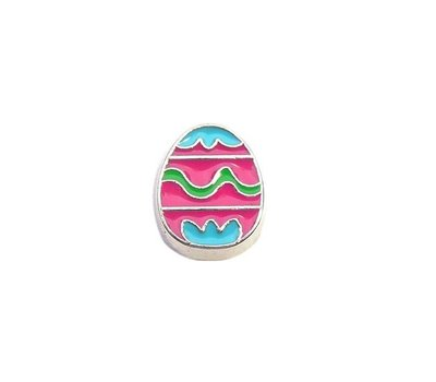 Floating Charms Floating locket charm roze paasei zilver