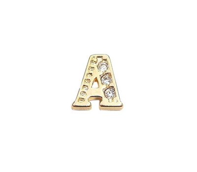 Floating Charms Floating locket charm letter A met crystals goud