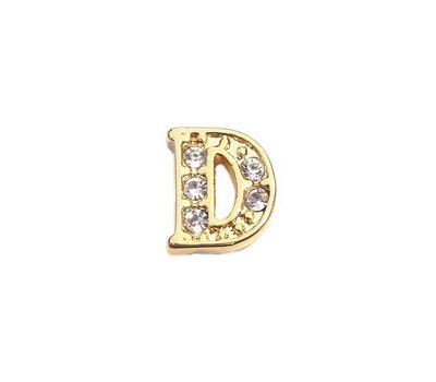 Floating Charms Floating locket charm letter D met crystals goud