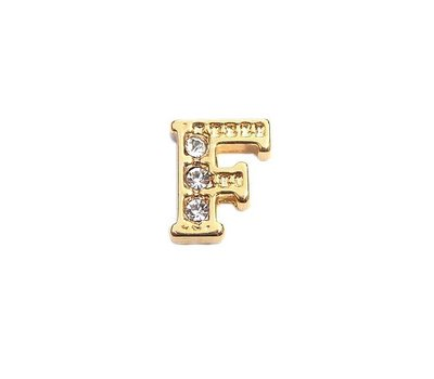 Floating Charms Floating locket charm letter F met crystals goud