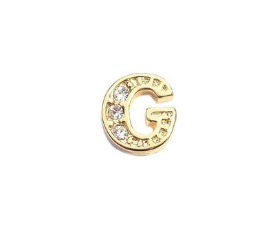 Floating Charms Floating locket charm letter G met crystals goud