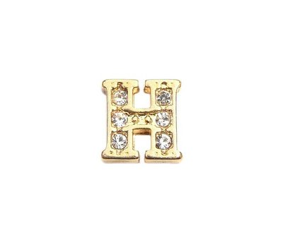 Floating Charms Floating locket charm letter H met crystals goud