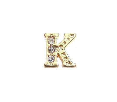 Floating Charms Floating locket charm letter K met crystals goud