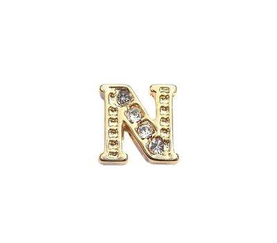 Floating Charms. Floating charm letter n met crystals goud voor de memory locket