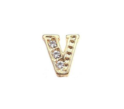 Floating Charms Floating locket charm letter V met crystals goud