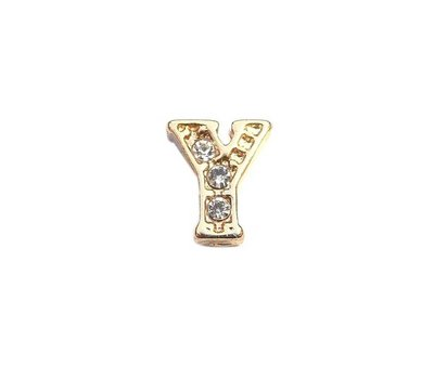 Floating Charms Floating locket charm letter Y met crystals goud