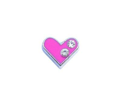 Floating Charms. Floating charm roze hart met steentjes voor de memory locket