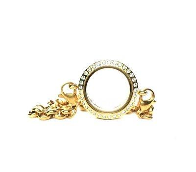 Floating memory lockets Twist rvs gouden memory locket armband met strass