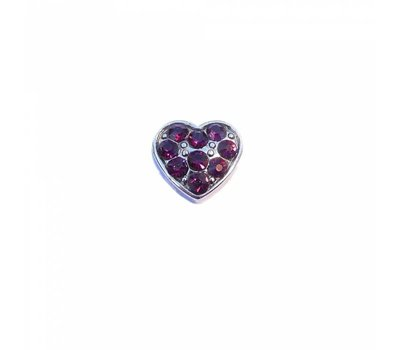Floating Charms Floating locket charm hartje met paarse crystals zilver