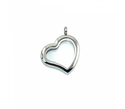 Floating memory lockets Zilveren rvs memory locket gebogen hart