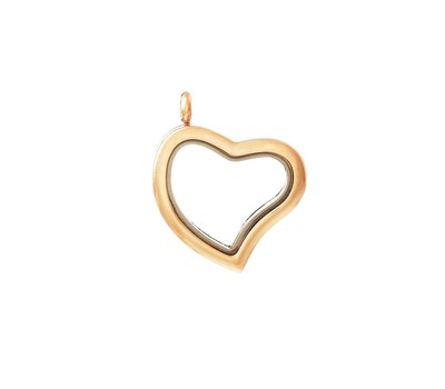 Floating memory lockets Gouden memory locket gebogen hart