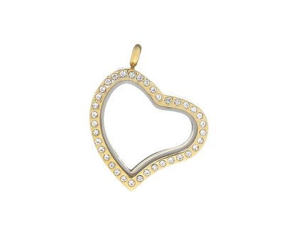 Floating memory lockets Gouden memory locket met strass gebogen hart