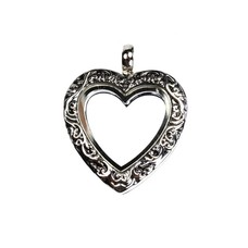 Floating locket Zilveren memory locket hart vintage