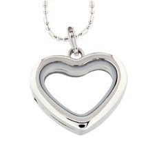 Floating locket Zilveren memory locket hart met ketting