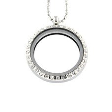 Floating locket Zilveren memory locket rond large strass met bamboo ketting