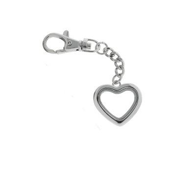 Floating locket Zilveren memory locket sleutelhanger hart