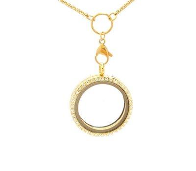 Floating memory lockets Gouden memory locket rond met strass large inclusief medium loop ketting