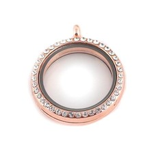 Floating memory lockets Rose gouden memory locket met strass rond large