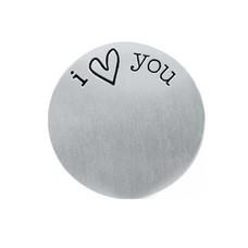 Floating locket  discs Memory locket disk i love you zilver large