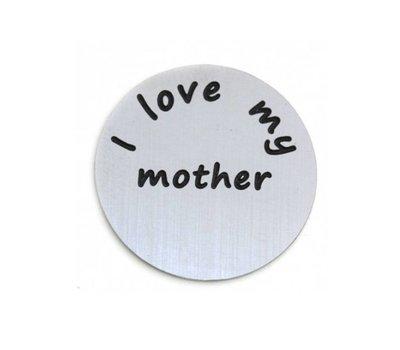 Floating locket  discs Memory locket disk i love my mother zilver large