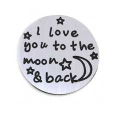 Floating locket  discs Memory locket disk i love you to the moon zilver large
