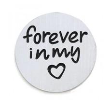 Floating locket  discs Memory locket disk forever in my hart zilver large
