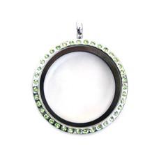 Floating locket Zilveren memory locket rond large strass groen